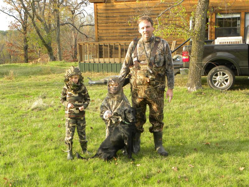 Rick and the Boys getting ready for a duck hunt, Kiamichi River Cabin